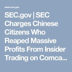 SEC.gov | SEC Charges Chinese Citizens Who Reaped Massive Profits From Insider Trading on Comcast-Dreamworks Acquisition
