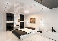 Black Bed Sheet And White Sideboard And Modern Wall Lamp For Black White Bedroom