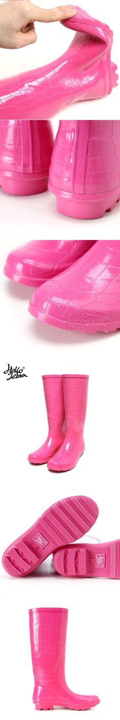 Women Rain Boots Fashion  Knee high 2016 Pink Crocodile Pattern Rain Shoes Girl Summer Rubber Waterproof Rainboots Ladies Shoes