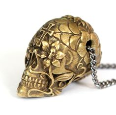 """Sugar Skull Necklace Burnished Yellow Bronze Sugar Skull Pendant Necklace on 32"""" Gunmetal Chain- An Exclusive of Moon Raven Designs. $60.00, via Etsy."""