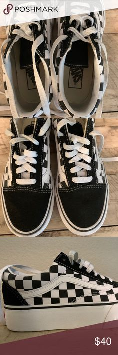 df81be462bd Authentic Black and White Checkered Platform Vans Worn a couple of times  but they are in