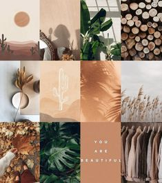 Boho Earth Inspired Wall Collage Kit, Photo Wall Collage, Boujee Collage Kit, Dorm Room Decor, Aesthetic Collage (Digital Download) 48Pcs