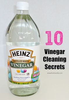 10 Vinegar Cleaning Secrets.   ++Complete details on how to do each is on web site. Use vinegar to:  . clean carpet. . clean floors. . as a fabric softener. . clean your dishwasher. . clean sinks and drains. . to clean your coffee maker. . clean your microwave . clean stainless steel . clean your fridge . clean dirty paintbrushes.
