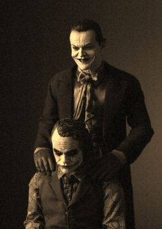 A few years ago, company Hot Toys created an eerily realistic figure of both Nicholson and Ledger's Jokers — impeccably detailed right down to the skin texture, facial expressions, advanced articulation, and awesome array of props and interchangeable features. Both are downright creepy and incredibly badass. Gaunted Photography is behind the photo (editing from photographer and aspiring filmmaker Marv J. Thompson), which pairs both Jokers together for a chilling photo opportunity.