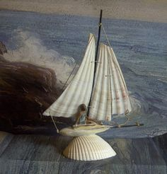 Sea Shell Sailboat with Lead Swimmer by Loves2Junk on Etsy