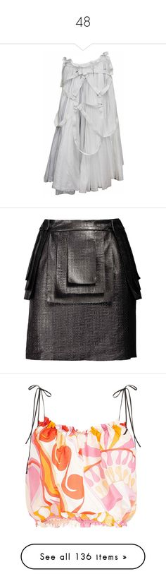 """48"" by mattressqueen ❤ liked on Polyvore featuring skirts, grey, pleated skirts, summer skirts, gray pleated skirt, grey pleated skirt, layered skirt, knee length summer skirts, leather skirts and knee length leather skirt"