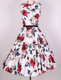 "50s ""Audrey Hepburn"" Rose Floral Dress Size s 4X Pinup Swing | eBay"