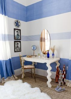 blue and white, fun to paint stripes in a room Dressing Room Design, Dressing Rooms, Dressing Table, Interior Decorating, Interior Design, Interior Exterior, Wall Treatments, Furniture Design, Furniture Vintage