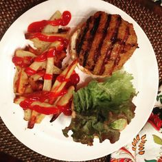 Asian Turkey Burgers & Homemade Fries! Yum! #recipe #ontheblog but we used #nongmo  #glutenfree liquid aminos (1 tablespoon) instead of GF soy sauce. So good and perfect for a Friday night!