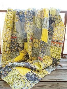grey and yellow quilt?! yes please!