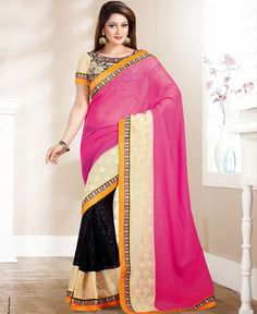 http://www.a1designerwear.com/vivacious-black-cream-pink-fashion-saree