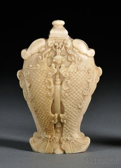 Ivory Snuff Bottle, China, 19th century, finely carved as double fish with a pendant, with stopper, lg. 2 3/4 in.
