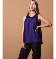 Μπλούζα Αμάνικη Ζορζέτα με Γιακά - Βιολετί Purple, Black, Tops, Women, Fashion, Moda, Black People, Women's, Fashion Styles