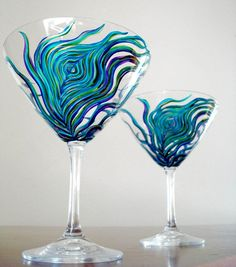 Peacock Martini Glasses--Set of 2 Hand Painted Glasses Champaign Glasses, Peacock Art, Painted Wine Glasses, Glass Kitchen, Martini, Just In Case, Glass Art, Cocktail Glassware, Crystals