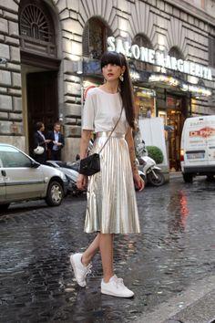 Paz Halabi Rodriguez - Zara Silver Earings, Monki White T Shirt, Roma Amore Cross Shoulder Bag, Zara Silver Pleated Skirt, Reebok Classic - Silver Pleated Skirt Outfit, Casual Skirt Outfits, Modest Outfits, Modest Fashion, Chic Outfits, Summer Outfits, Fashion Outfits, Womens Fashion, Skirt And Sneakers