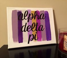 Paint Stroke Sorority Canvas: Alpha Delta Pi by PaintMePeachy Sigma Alpha Omega, Delta Phi Epsilon, Pi Beta Phi, Alpha Sigma Alpha, Big Little Basket, Big Little Gifts, Sorority Canvas, Sorority Crafts, Canvases