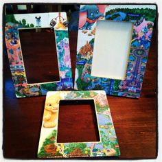 Handmade picture frames using Disney world maps! Just use mod podge!