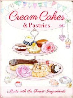 Cream Cakes & Pastries, The Finest Ingredients Tin Sign: 40cm x 30cm - Buy Online