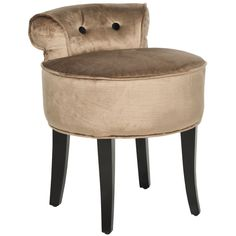 The adorable Georgia vanity chair is petite enough to tuck in a bathroom or bedroom and brimming with feminine style. Graceful birch wood legs finished in espresso, a deep seat and a diminutive button-tufted back are designed for indulgent comfort.
