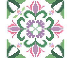Traditional floral cross stitch tile by crossstitchtheline on Etsy