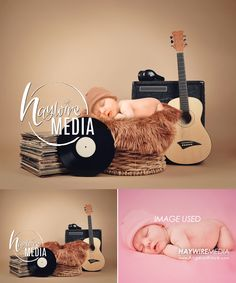 Newborn, Baby, Toddler, Child, Basket Photography Digital Backdrop Prop for Photographers with Music Guitar Background