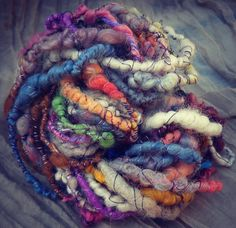 Handspun Yarn / Hand dyed Art Yarn  -  Coil wrapped hand spun yarn Merino, Mohair, Alpaca, Silk - SEA URCHIN