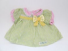 Modern Cabbage Patch Doll Clothes Green Gingham Preemie Size Dress  #Hasbro #ClothingAccessories