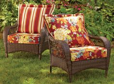 Give conversation chairs a comfy new look with deep seating cushions--mix & match this Red Floral set with reversible back cushion