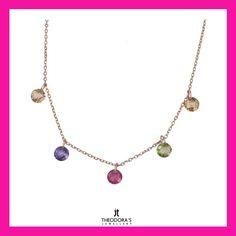 Thin chain necklace made of rose gold plated 925o with 5 Swarovski crystals ( beige, purple, green, red). A beautiful, joyful jewel that can be combined with almost everything!-------------------------------------------------------------Κολιέ Swarovski ψιλή αλυσίδα από ροζ επιχρυσωμένο ασήμι 925ο με 5 κρύσταλλα Swarovski (μπεζ, μωβ, πράσινο, κόκκινο).