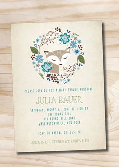 WOODLAND FOX Wreath Rustic Vintage Baby Shower Invitation - You Print Printable
