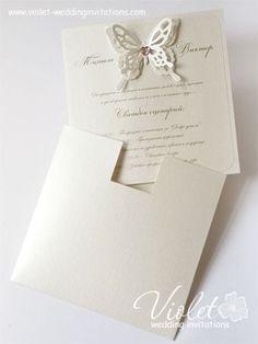 """Aida"" Wedding Invitation, Violet Handmade Wedding Invitations"