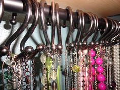 Teen Girl Shower Curtains | Necklace storage on shower curtain hooks. | Teen girl bedroom ideas