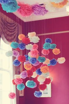 Just for fun, some pom pom goodness to brighten your day! How beautiful is the photo above? These pretties have all been created by Pom Pom Factory. All images via Pom Pom Factory here and here Paper Flower Garlands, Tissue Paper Flowers, Hanging Flowers, Diy Hanging, Tissue Paper Pom Poms Diy, Paper Poms, Ceiling Hanging, Diy And Crafts, Paper Crafts