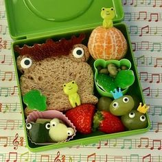this frog bento is one of my old favorites from Melissa at anotherlunch Bento Box Lunch, Lunch Snacks, Bento Food, Snack Box, Lunch Boxes, 10 Days Of Christmas, Boite A Lunch, Cute Bento, Bento Recipes