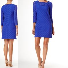 """Laundry Shelli Segal, Trim Lace Dress, Nordstrom By Laundry, Royal Blue, it is actually a darker blue color in person than what is in the picture. Lattice Trim Lace Daytime Dress  Sophisticated for the office or night out:  Eyelet trim accents the jewel neck of a 3/4 length sleeve stretch lace dress.  3/4 length sleeves  Concealed back zip closure  Lined  Approx. 33"""" length  Imported  Fiber Content: Shell: 96% nylon, 4% spandex Lining: 100% polyester  Care: Hand wash cold or dry clean…"""