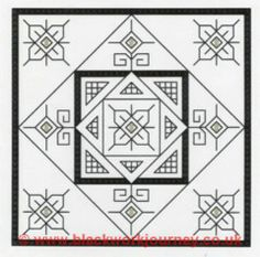 Simple Square (Fun Squares), designed by @Elizabeth Almond, from Blackwork Journey.
