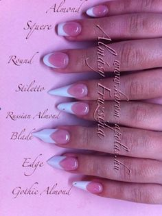 Nail shapes and what they're called!