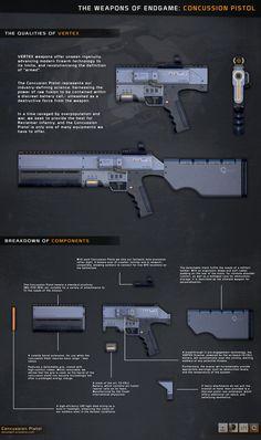 ArtStation - Concussion Pistol w/ Attachments, Dan Powell