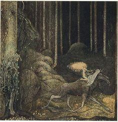 John Bauer - Älgtjuren skutt och prinsessan Tuvstarr