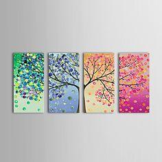peinture à l'huile florale printemps été automne hiver avec étiré ensemble de 4 toiles peintes à la main cadre – USD $ 149.99