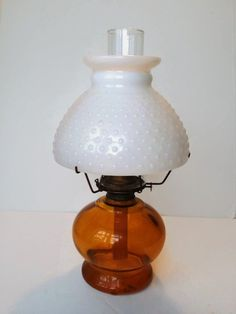 Rare Amber Glass Oil Kerosene Lamp White Milk Glass Hobnail Shade Chimney Vintage Lighting Hurricane cottage  by colonialcrafts on Etsy by colonialcrafts on Etsy #v2team #colonialcrafts #homespunsociety #epsteam #A4 team vintageMI team #ofg #Cet #teamcac #sct