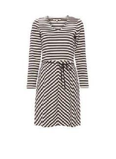 Sandwich A-lijn jurk met ceintuur en streepdessin