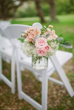 Hanging hobnail for ceremony chair- pastel and rustic. Bouquets of Austin|TheBird, the bear photography| Green Pastures Restaurant.