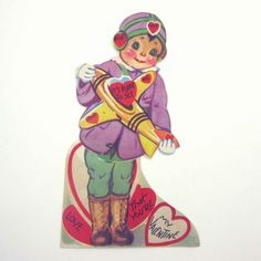 Vintage MECHANICAL Valentine Card Pilot Boy Holding Toy Plane Airplane Unused