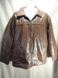 """Haband Executive Men's """"Patch Style"""" Leather Jacket Coat Removable Liner Sz-3XL"""