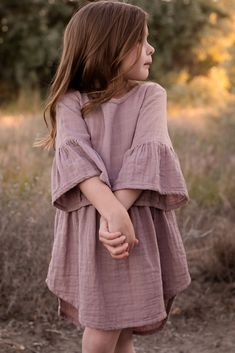 Mauve Ruffle Trim Button Back Toddler Dress - Children fashion - Kids Baby Outfits, Little Girl Dresses, Kids Outfits, Girls Dresses, Toddler Outfits, Baby Dresses, Dress Girl, Fashion Kids, Little Girl Fashion