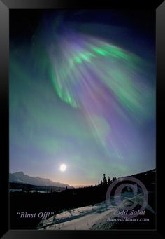 Blast Off!, Matanuska Glacier, March, solar flare, 2012. The distinctive title and copyright © used on the above photo is for online protection only.  Actual photos are hand-signed and titled in a manner not to distract from the art.