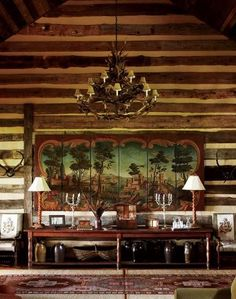 Tour a Blue Ridge Hideout Step inside this retreat in Cashiers, North Carolina garden and gun Interior And Exterior, Interior Design, Little Cabin, Cabins And Cottages, Log Cabins, Cabin Interiors, Rustic Interiors, Southern Homes, Cabins In The Woods