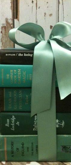 Teal and Aqua-ribboned books