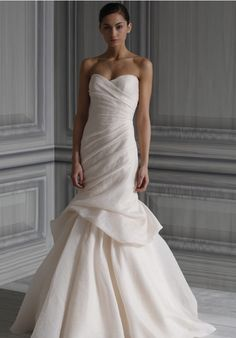 Fit-N-Flare Strapless Jacquard Sweep wedding Dress Style Peony-2 Interesting drapery
